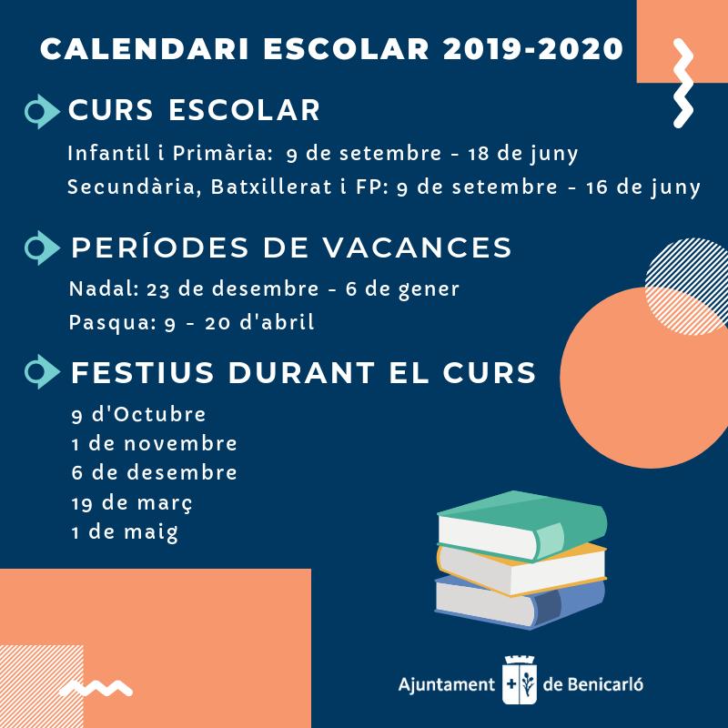Calendario Escolar 2020 2020 Comunidad Valenciana.Ajuntament De Benicarlo Calendario Escolar Para El Curso 2019 2020